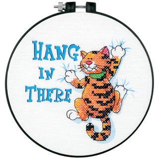 """Learn-A-Craft Hang In There Stamped Cross Stitch Kit-6"""" Round"""