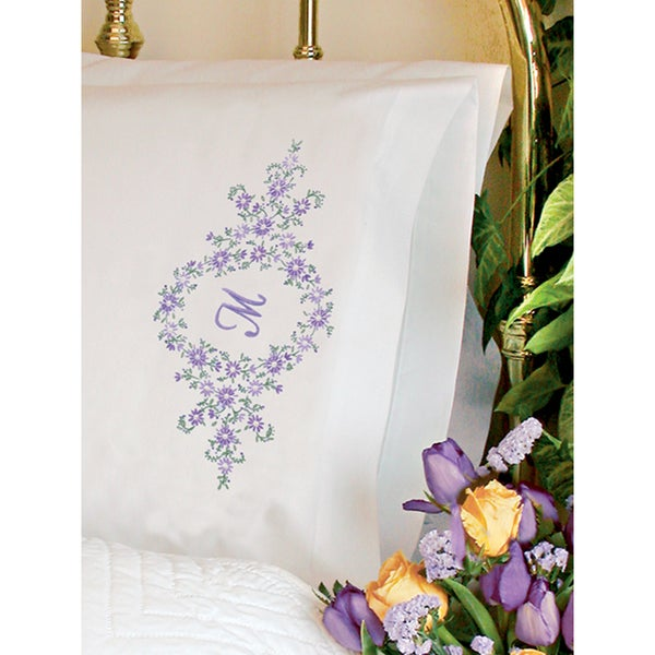 """Daisy Monogram Pillowcase Pair Stamped Embroidery -20""""X30"""""""