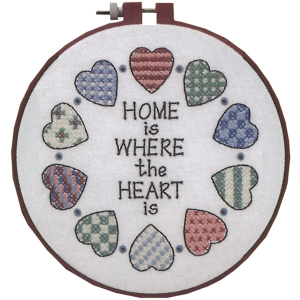 """Learn-A-Craft Home And Heart Stamped Cross Stitch Kit-6"""" Round"""