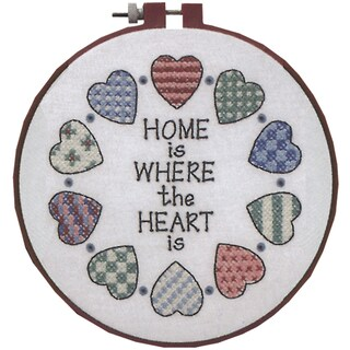 "Learn-A-Craft Home And Heart Stamped Cross Stitch Kit-6"" Round"