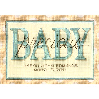 """Sweet Baby Birth Record Mini Counted Cross Stitch Kit-7""""X5"""" 14 Count"""