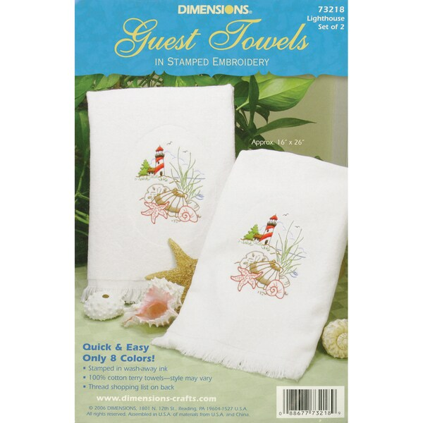 """Lighthouse Guest Towels Stamped Embroidery-16""""X26"""""""