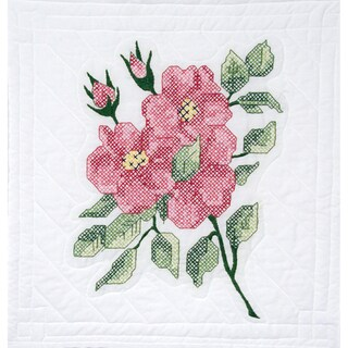"Stamped Quilt Blocks 18""X18"" 6/Pkg-Red Roses"