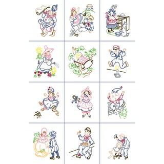 """Stamped Baby Quilt Blocks 9""""X9"""" 12/Pkg-Nursery Rhymes"""