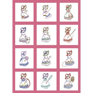 "Stamped Baby Quilt Blocks 9""X9"" 12/Pkg-Sunbonnet Girl"