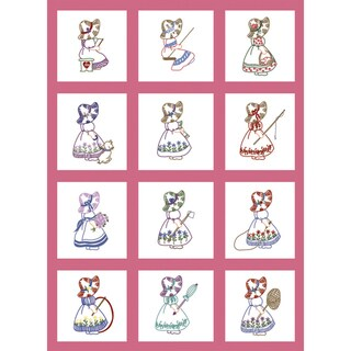 "Stamped Baby Quilt Blocks 9""X9"" 12/Pkg-Sunbonnet Girl"