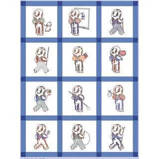 """Stamped Baby Quilt Blocks 9""""X9"""" 12/Pkg-Straw Hat Boy"""