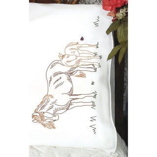 Stamped Perle Edge Pillowcase 2/Pkg-Mare & Foal
