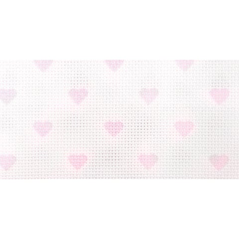 """Impressions Aida Needlework Fabric 14 Count 14""""X18""""-White W/Baby Pink Hearts"""