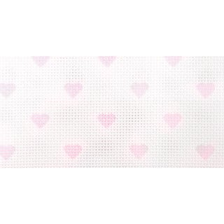 "Impressions Aida Needlework Fabric 14 Count 14""X18""-White W/Baby Pink Hearts"
