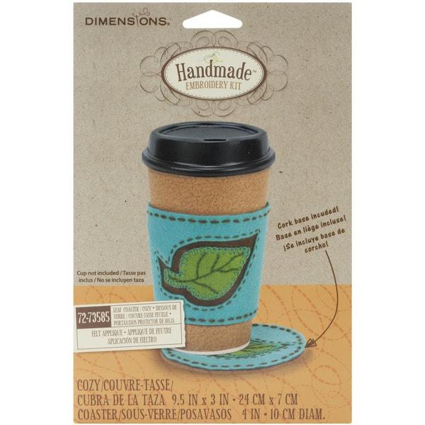 "Handmade Leaf Coaster & Coffee Cozy Embroidery Kit-4""X8"""