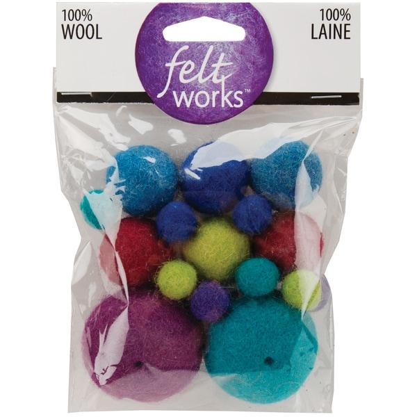 Feltworks Balls-Cool Asst 16/Pkg