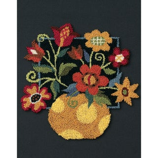 "Floral On Black Punch Needle Kit-8""X10"""
