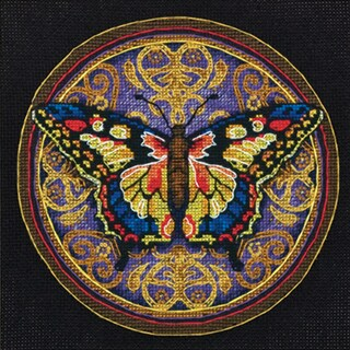 """Gold Collection Petite Ornate Butterfly Counted Cross Stitch-6""""X6"""""""