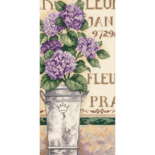 """Gold Collection Petite Hydrangea Floral Counted Cross Stitch-4""""X8"""""""