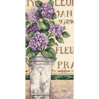 "Gold Collection Petite Hydrangea Floral Counted Cross Stitch-4""X8"""