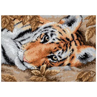 """Gold Collection Petite Beguiling Tiger Counted Cross Stitch -7""""X5"""""""