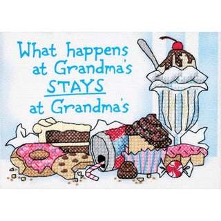 "What Happens At Grandma's Mini Stamped Cross Stitch Kit-7""X5"""