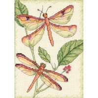 """Dragonfly Duo Mini Counted Cross Stitch Kit-5""""X7"""""""