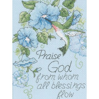 "Hummingbird & Morning Glories Mini Counted Cross Stitch Kit-5""X7"""