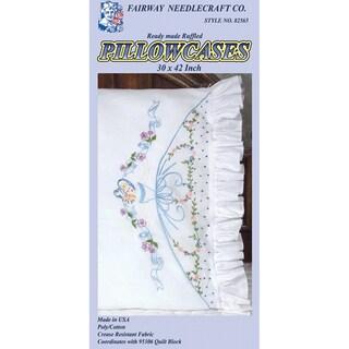 Stamped Lace Edge Pillowcase 2/Pkg-Ribbon & Bows Lady