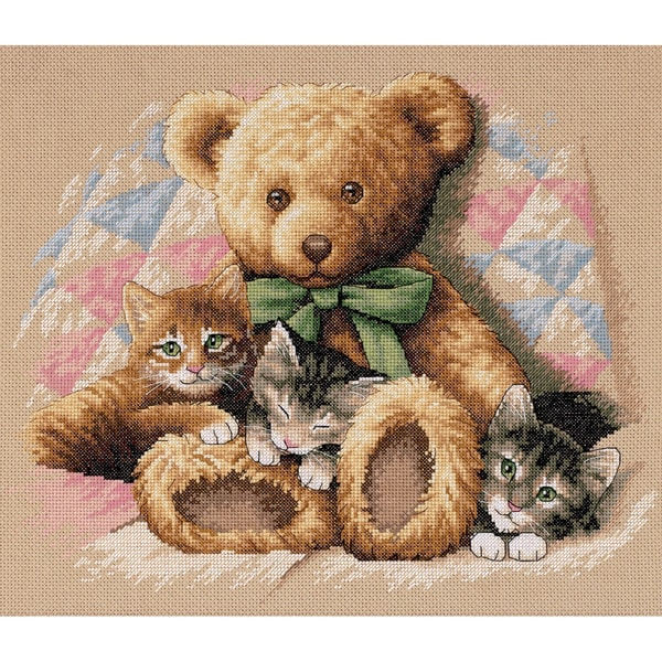 "Teddy & Kittens Counted Cross Stitch Kit-14""X12"""