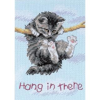 """Jiffy Hang On Kitty Mini Counted Cross Stitch Kit-5""""X7"""""""