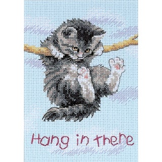 "Jiffy Hang On Kitty Mini Counted Cross Stitch Kit-5""X7"""