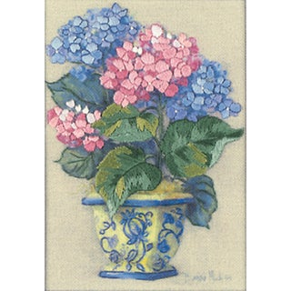 "Jiffy Colorful Hydrangea Mini Crewel Kit-5""X7"" Stitched In Thread"