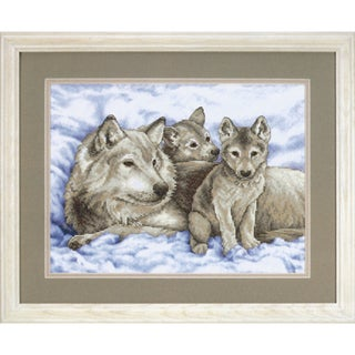 """Mother Wolf And Pups Stamped Cross Stitch Kit-16""""X12"""""""