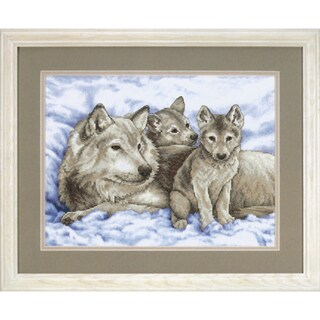 "Mother Wolf And Pups Stamped Cross Stitch Kit-16""X12"""