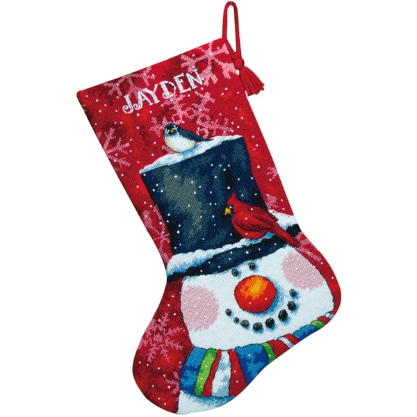 """Snowman And Friends Stocking Needlepoint Kit-16"""" Long Stitched In Wool & Floss"""