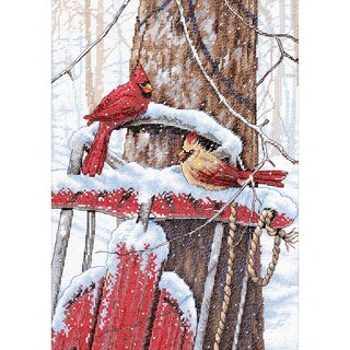 """Cardinals On Sled Counted Cross Stitch Kit-10""""X14"""""""
