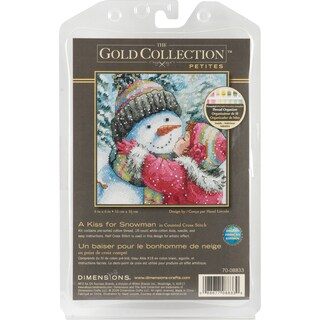 """Gold Collection Petite A Kiss For Snowman Counted Cross Stit-6""""X6"""""""