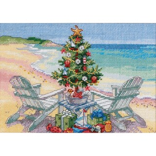 """Gold Collection Petite Christmas On The Beach Counted Cross -7""""X5"""""""