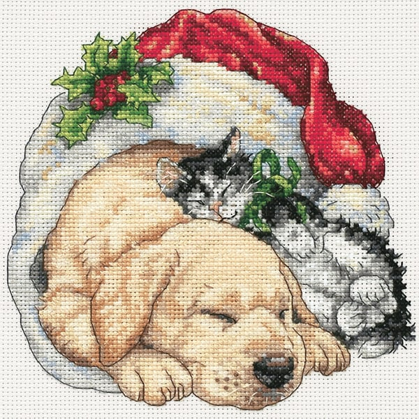 """Gold Collection Petite Christmas Morning Pets Counted Cross -6""""X6"""""""