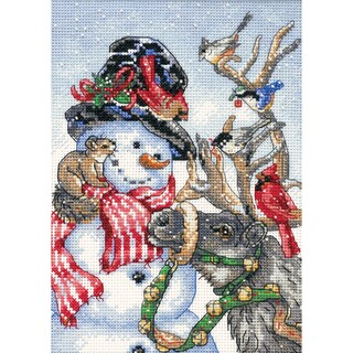 """Gold Collection Petite Snowman & Reindeer Counted Cross Stit-5""""X7"""""""