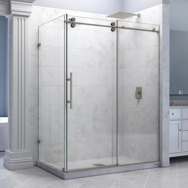 Dreamline enigma 36 x 60 5 inch fully frameless sliding for Fully enclosed shower