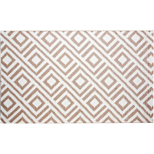 b.b.begonia Malibu Reversible Design Beige and White Outdoor Area Rug (4' x 6') - 4' x 6'