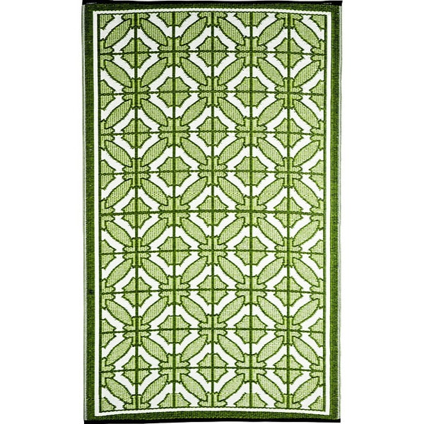 b.b.begonia Bali Reversible Design Green and White Outdoor Area Rug (4' x 6')