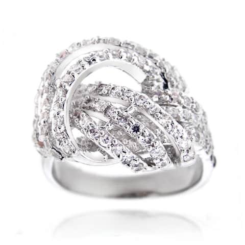 Icz Stonez Silvertone 1 1/4ct TGW Cubic Zirconia Love Knot Ring