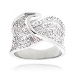 Icz Stonez Silvertone 1 1/2ct TGW Cubic Zirconia Wave Ring