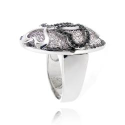 Icz Stonez Silvertone Black and White Cubic Zirconia Oval Heart Ring - Thumbnail 1