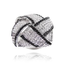 Icz Stonez Silvertone 4ct TGW Cubic Zirconia Pave Square Knot Ring