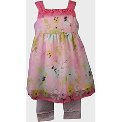 BT Kids Pink Floral Print Dress Legging Set