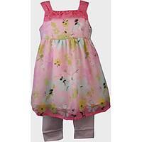 BT Kids Pink Floral Print Dress Legging Set
