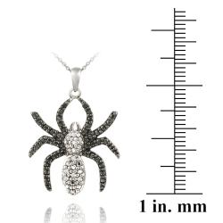 DB Designs Sterling Silver Black Diamond Accent Spider Necklace - Thumbnail 2