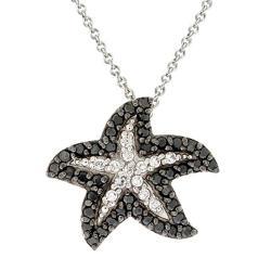Icz Stonez Rhodium-plated 3/4ct TGW Black/ White CZ Starfish Necklace