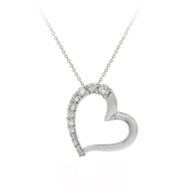 Icz Stonez Sterling Silver 1ct TGW Cubic Zirconia Open Heart Necklace