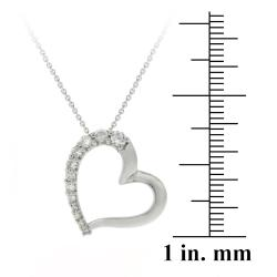 Icz Stonez Sterling Silver 1ct TGW Cubic Zirconia Open Heart Necklace - Thumbnail 2